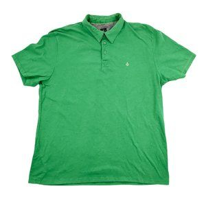 Volcom Polo Shirt Men XL Green Collar Short Sleeve